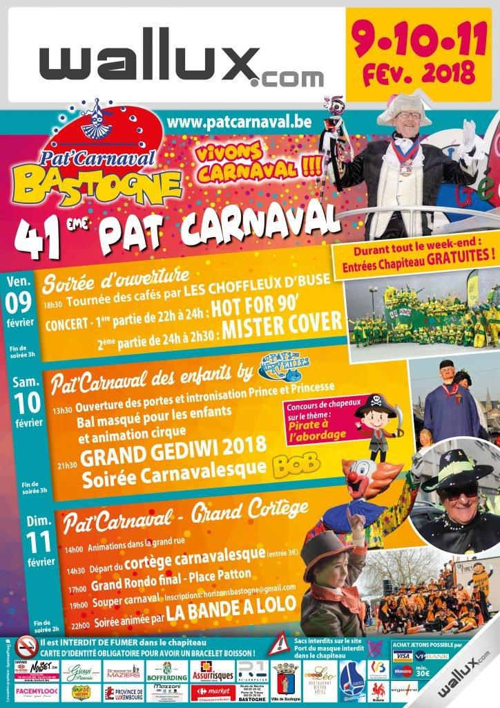 CARNAVAL - Vendredi 09, 10 et dimanche 11 février 2018 Le Pat'Carnaval de Bastogne. Le-pat-carnaval-de-bastgne-2018